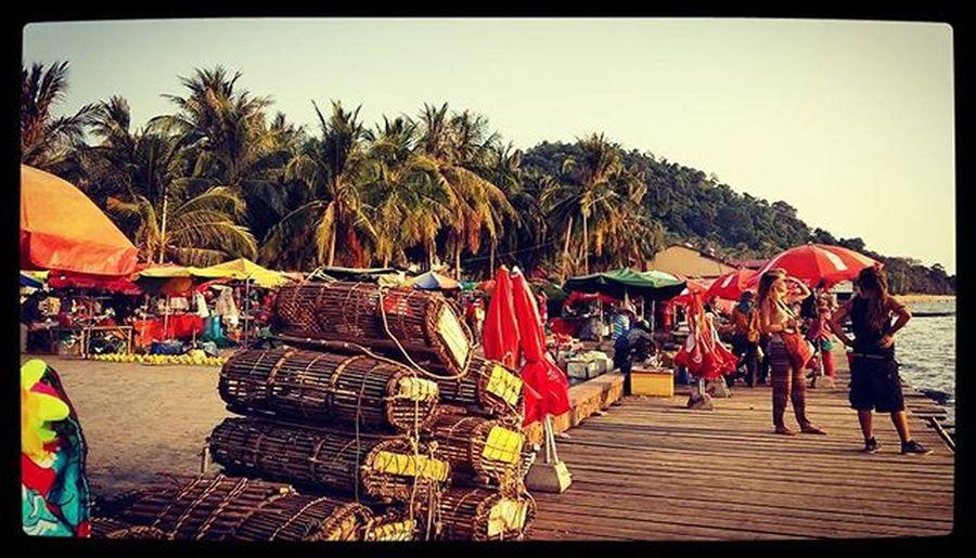 almost Sunset in Kep 🌅 Crabbasket Basket Bythesea Coconuttrees Umbrellas