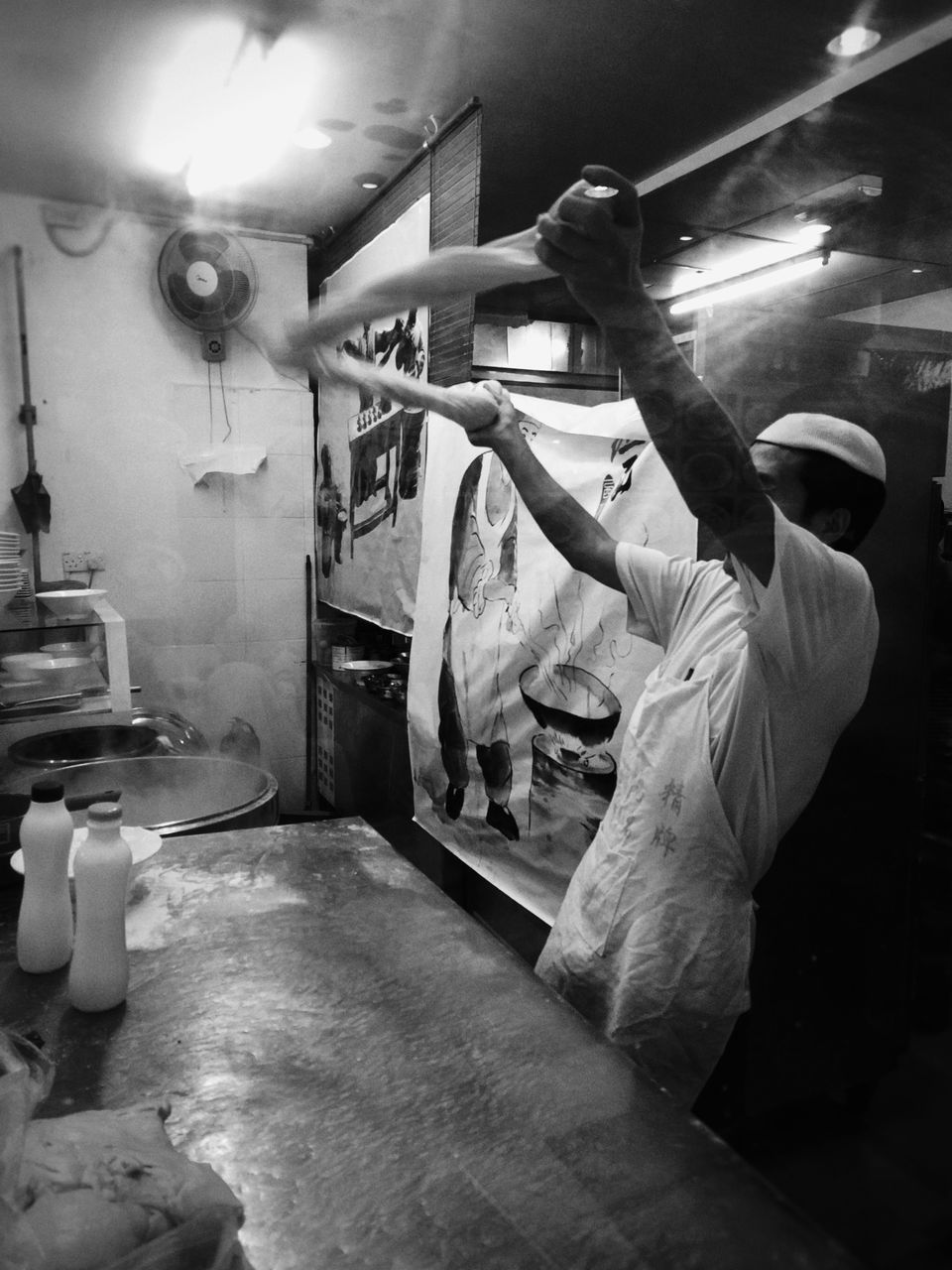 real people, occupation, working, skill, men, commercial kitchen, indoors, kitchen, protective workwear, workshop, one person, manual worker, chef, food and drink establishment, food, butcher, day, people
