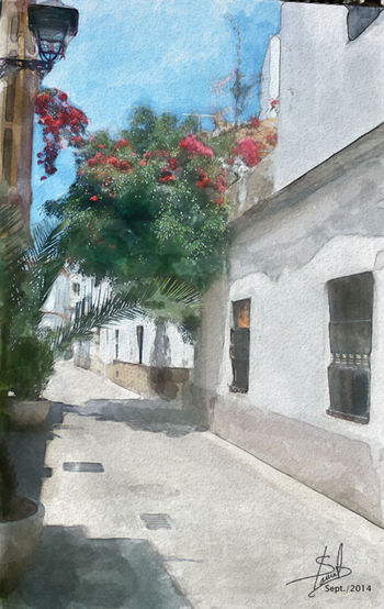 Digital Painting Digital Art Drawing Architecture calle de Rota,