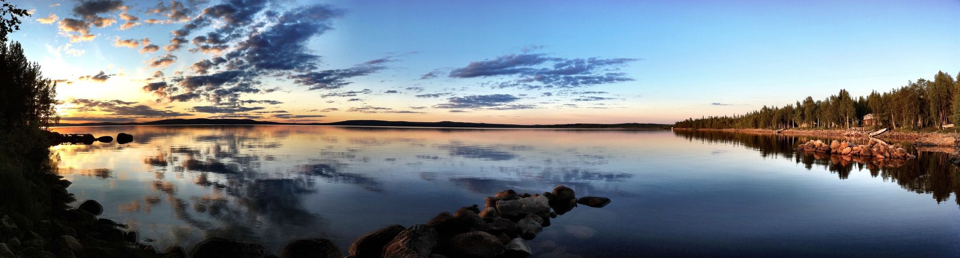 Lapland Suomi Finland Lapland Lake Reflection Clouds And Sky Sunset Rocks Panorama The Essence Of Summer light and reflection The Great Outdoors - 2017 EyeEm Awards
