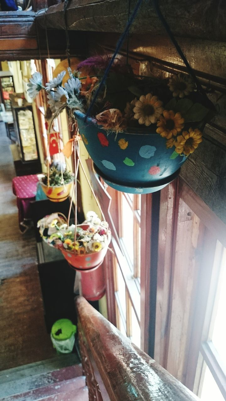 Flower Pots Hanging Over Window At Home