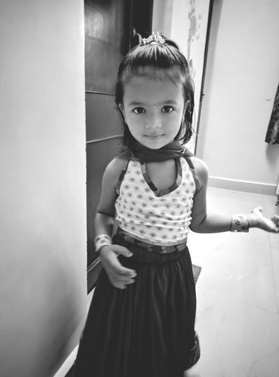 EyeEm Selects Child Portrait Childhood Girls Looking At Camera Standing Front View Only Girls Babyhood Eye Color Ballet Studio Innocence Toddler  Preschooler One Baby Girl Only #urbanana: The Urban Playground Urban Fashion Jungle HUAWEI Photo Award: After Dark Moments Of Happiness