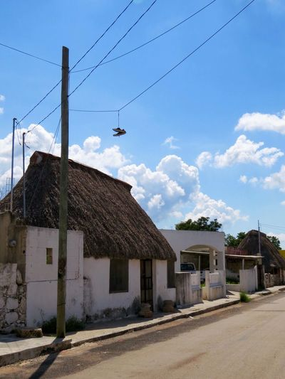 Tenabo, Campeche. México Mexico Street Architecture Built Structure Building Exterior Blue House Long Sky Roadside Outdoors Countryside Empty Road Street Photography Photography Traveling Travel Taking Photos Canonphotography