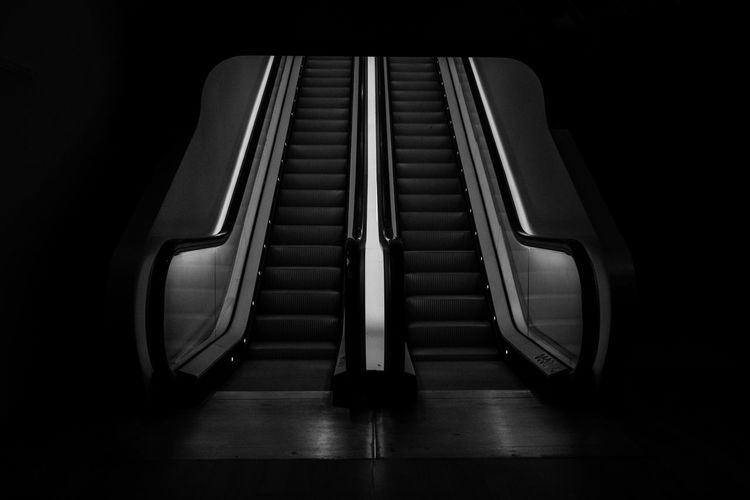 Absence Architecture Black Background Close-up Convenience Dark Day Empty Escalator Flooring High Angle View In A Row Indoors  Metal No People Pattern Railing Seat Staircase Steel Steps And Staircases Still Life