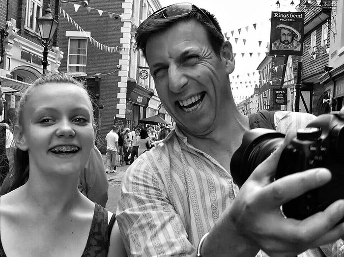 My eldest daughter and her uncle taking selfies of them self. Taking Photos Enjoying Life The Moment - 2014 EyeEm Awards Black And White