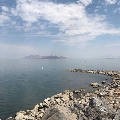 Sea Water Sky Scenics Nature Beauty In Nature Tranquil Scene Tranquility Rock - Object Cloud - Sky Outdoors Day No People Mountain Horizon Over Water Groyne Pebble Beach Utah USA Great Salt Lake Saltlakecity