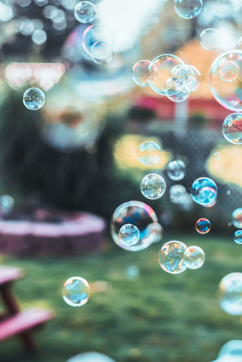 Close-up of bubbles in water
