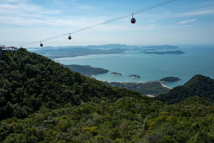Langkawi Sky Cable Car Mountain Overhead Cable Car Water Scenics - Nature Nature Beauty In Nature Tree Plant Sea Transportation Cloud - Sky Day Non-urban Scene No People Tranquility Cable Tranquil Scene Outdoors Skycab