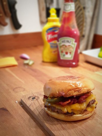 Close-up of burger on cutting board