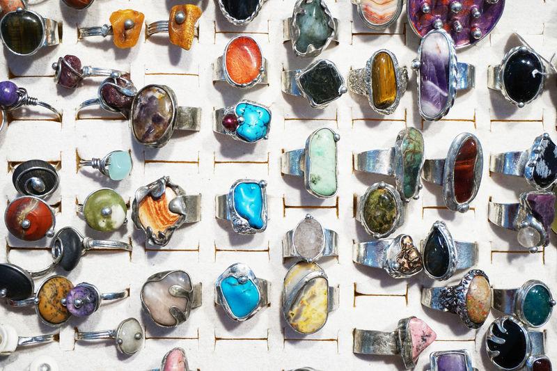 Full frame shot of multi colored rings for sale in market