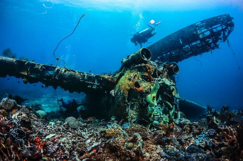 Wrecked airplane underwater