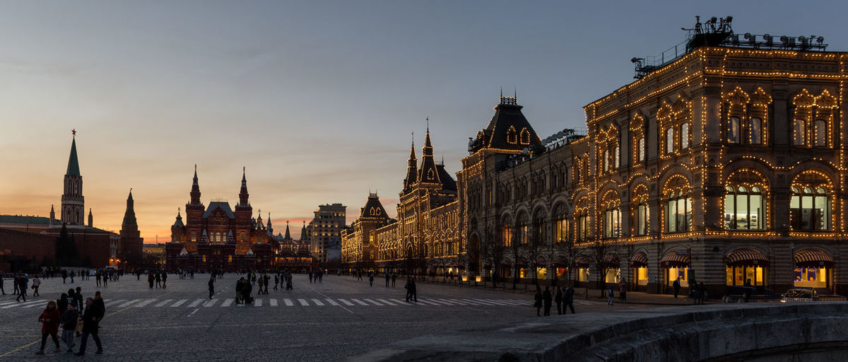 Russia, Moscow, Red square after sunset Architectural Column Architecture Building Exterior Built Structure Capital Cities  City City Life Cloud - Sky Culture Dome Façade Famous Place Illuminated Outdoors Sky Sunset Tourism Travel Destinations