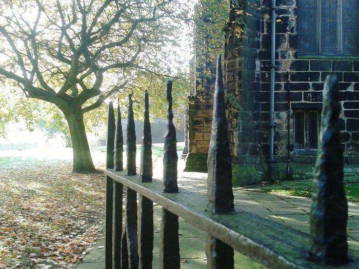 Ironrailings Spikes Ouch!! Churches Graveyard Beauty Sunlight And Shadow Gateway Autumnbeauty Oldbuildings Peaceful Place