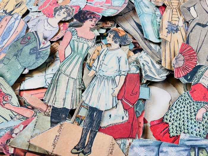 Antique paper dolls No People Paperdolls Victorian Full Frame Backgrounds Art And Craft Creativity High Angle View Multi Colored Paper Craft Still Life