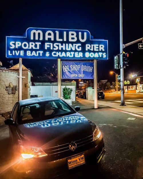 Car Volkswagen Jetta TSI Sport Fishing Malibu Pier Malibu Malibu Beach Street PCH EyeEm Selects Neon Illuminated Nightlife Road Sign City Nightclub Car Communication Text Cultures Welcome Sign Capital Letter Billboard Signboard Commercial Sign EyeEmNewHere
