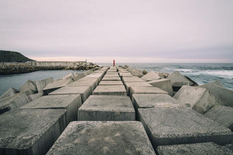 Concrete blocks at coast