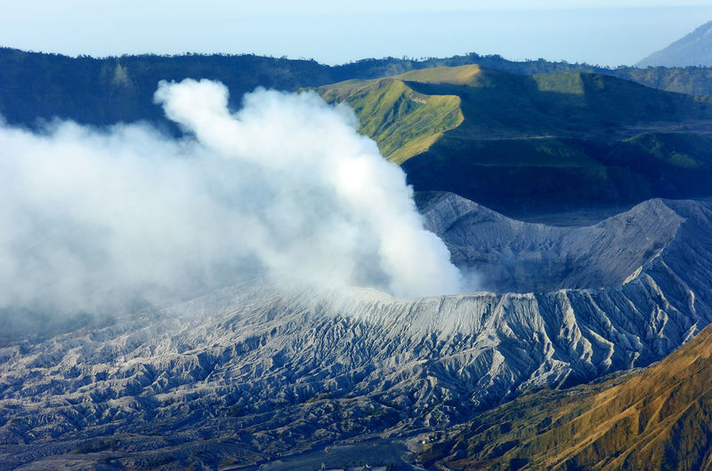 High Angle View Of Steam Emitting From Mt Bromo