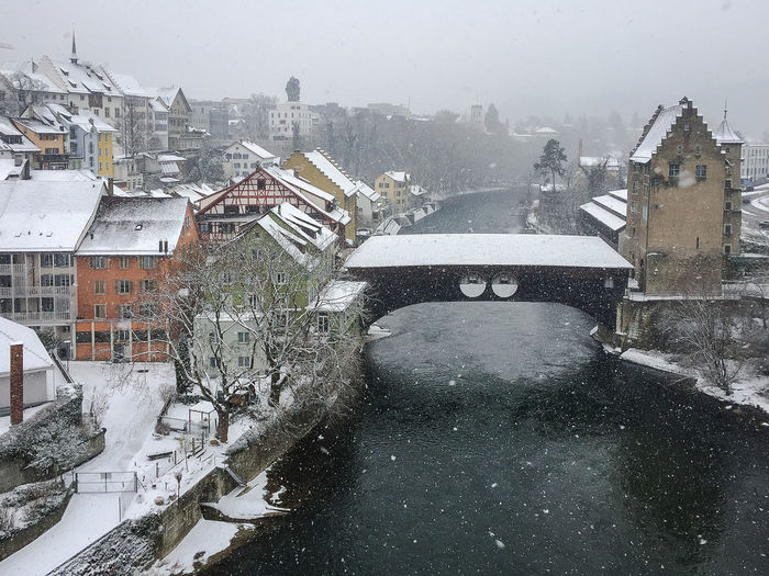 Baden on a winter day City Winter Architecture Bridge Building Exterior Built Structure City Cityscape Cold Temperature Day Frozen House No People Outdoors Residential Building River Sky Snow Snowing Water Weather Winter