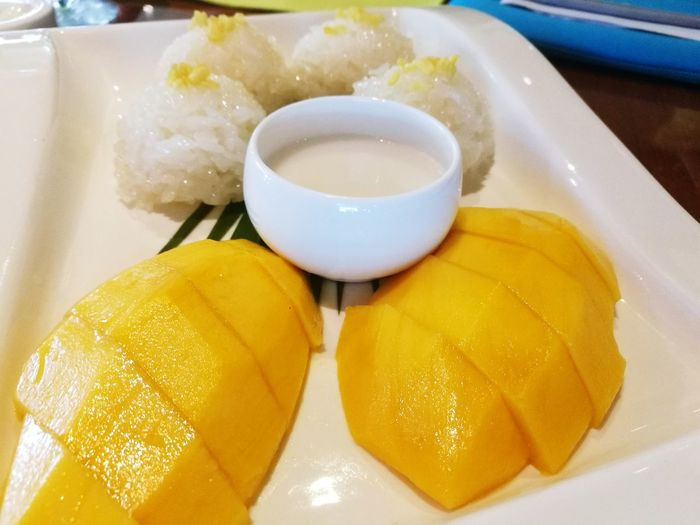 Mango - Sticky Rice Freshness Refreshment Mango Sticky Rice Sticky Rice With Mango Thai Dessert Sticky Rice & Mango Yellow Live For The Story