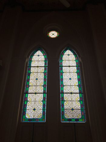 Stained Glass Window Indoors  Low Angle View No People Hanging Place Of Worship Built Structure Day Arch Religion Architecture Rose Window