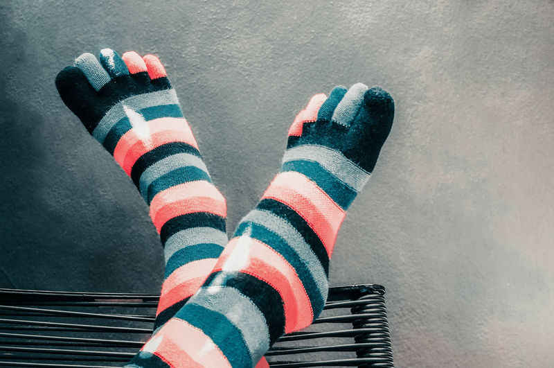 Fashion Directly Above Indoors  High Angle View Human Foot Sock Striped Human Leg Textile Take A Break Take Five Feet Up Relaxing Personal Perspective