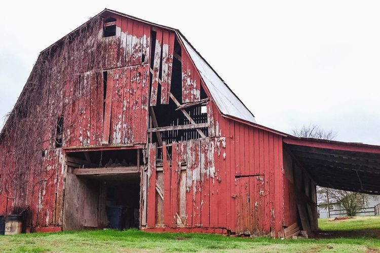Abandoned Architecture Bad Condition Barn Building Exterior Built Structure Damaged Day Door No People Obsolete Old Outdoors Red Ruined Wood Wooden
