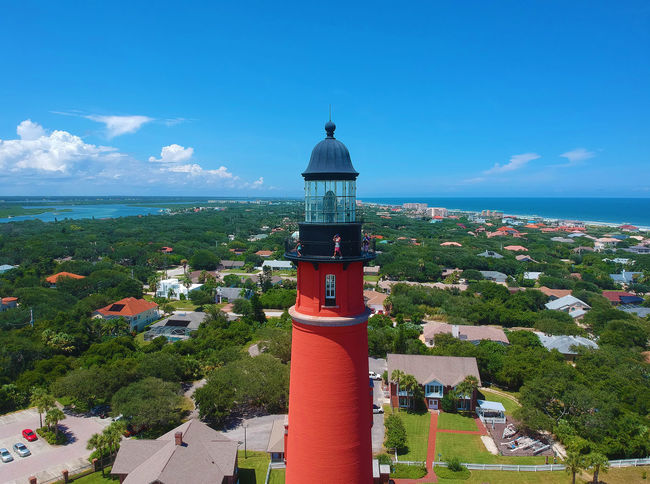 Aerial view of the historic Ponce de Leon Inlet Light lighthouse, in Ponce Inlet, Florida, USA Daytona Beach Lighthouse Ponce De Leon Lighthouse USA Aerial View Architecture Beach Building Cloud - Sky Florida Horizon Lighthouse No People Tourism Tower Travel Destinations