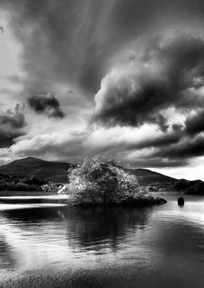Lough Leane b+w @ Ross Castle Killarney  Ireland Water Cloud - Sky Reflection Nature Beauty In Nature Outdoors Scenics Landscape Landscapes Tree Reflection Lake Lake View Lough Leane Lough EyeEm Nature Lover Autumn Travel Destinations Black And White Black & White Miles Away