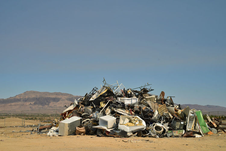 Landfill junkyard pile of debris in mojave desert town of pahrump, nevada, usa