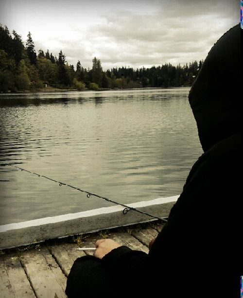 Lake Desire WA State Pacific Northwest  Boyfriend Fishing Smoking Relaxing Serenity Fishing HOODIES Beautiful Day Trees Water My Love❤ 43 Golden Moments