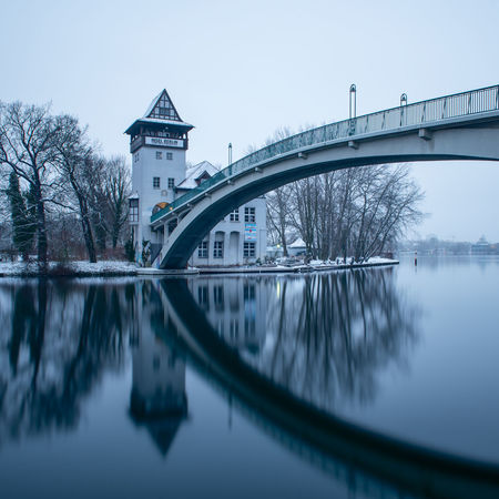 Insel Der Jugend Rummelsburger Bucht Spree Architecture Bridge Bridge - Man Made Structure Building Exterior Built Structure City Clear Sky Connection Day Nature No People Outdoors Reflection River Sky Transportation Travel Destinations Tree Water Waterfront Winter