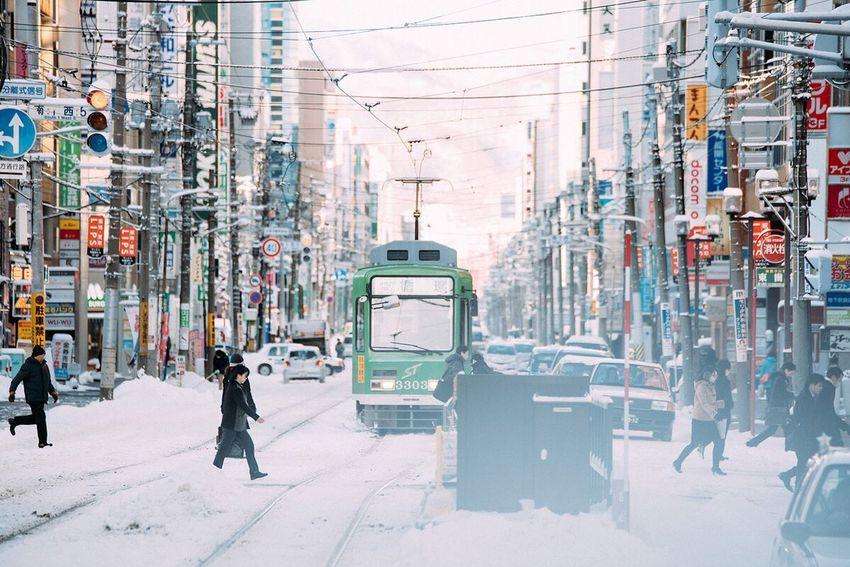Winter Snow Japan Tram Sapporo Hokkaido Taking Photos Moments Capture The Moment People Traveling Travel Hello World City
