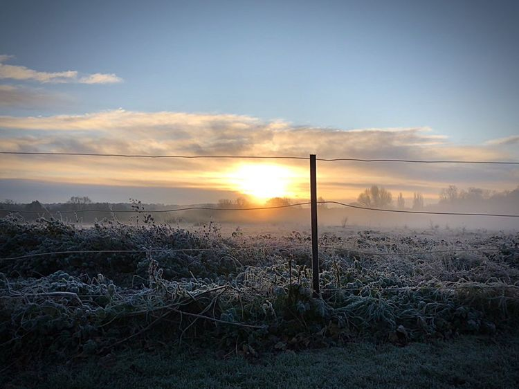 Sky Beauty In Nature Nature Tranquility Sun No People Scenics Frosty Outdoors Sunlight Landscape Day Atmospheric Mood Fog Climate Climate Change Cloudscape Colour Image Countryside Sunrise Dawn EyeEmNewHere Dramatic Sky England Surrey Shades Of Winter