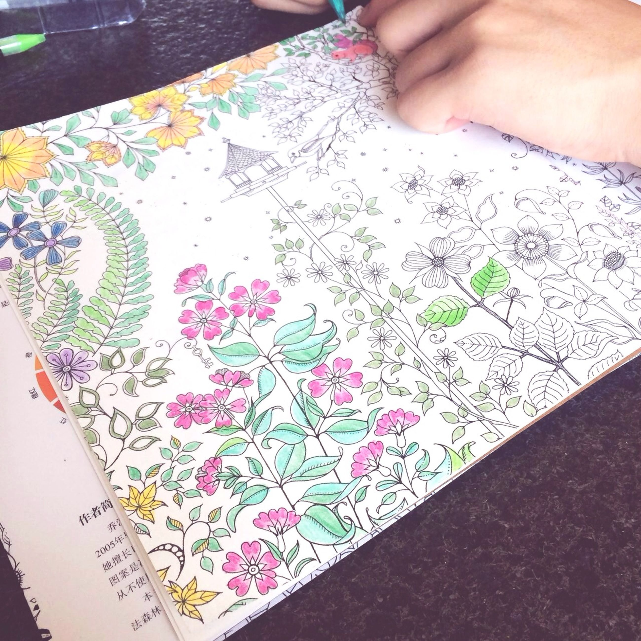 person, indoors, part of, creativity, art and craft, cropped, art, lifestyles, paper, high angle view, holding, floral pattern, close-up, unrecognizable person, leisure activity, human finger