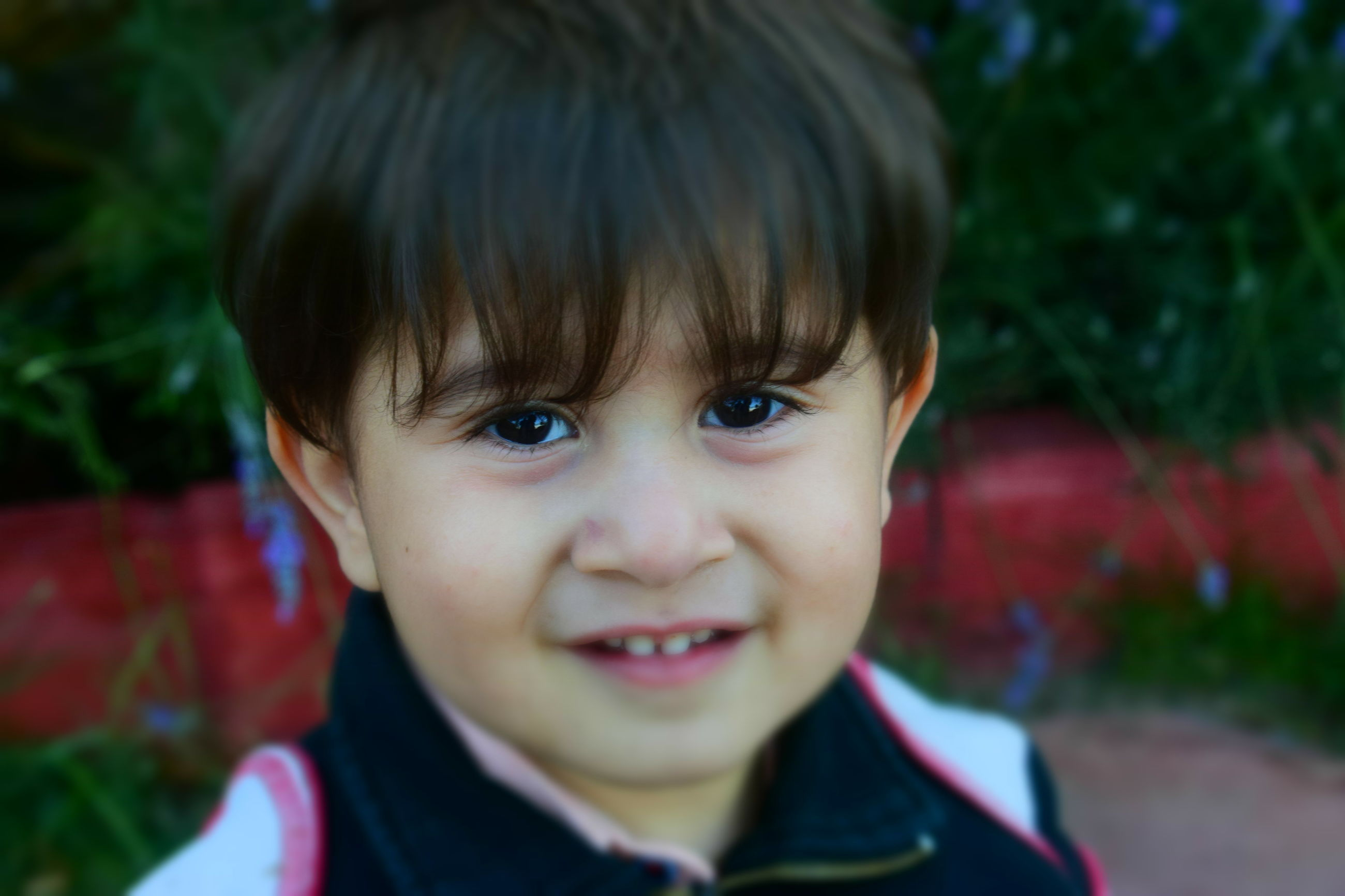 portrait, childhood, headshot, child, looking at camera, real people, one person, cute, innocence, focus on foreground, men, close-up, males, boys, front view, smiling, lifestyles, leisure activity, outdoors, human face, hairstyle