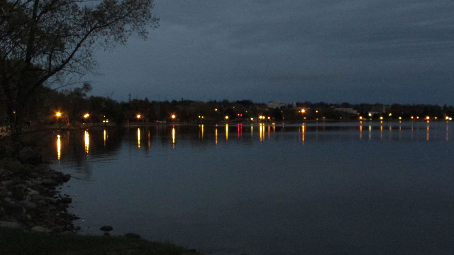 Taking Photos Evening On The Lake Lights Reflections Cool_capture_ Water Reflections Lake Cadillac Pure Michigan