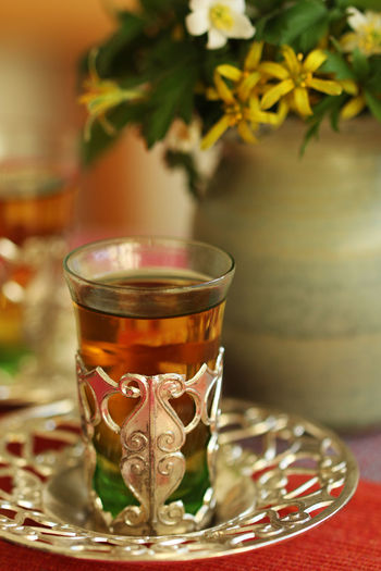 Beverage Close-up Drink Focus On Foreground Food And Drink Freshness Hot Drink Indoors  Morrocan Teaglass No People Non-alcoholic Beverage Purity Refreshment Selective Focus Still Life Table Tea