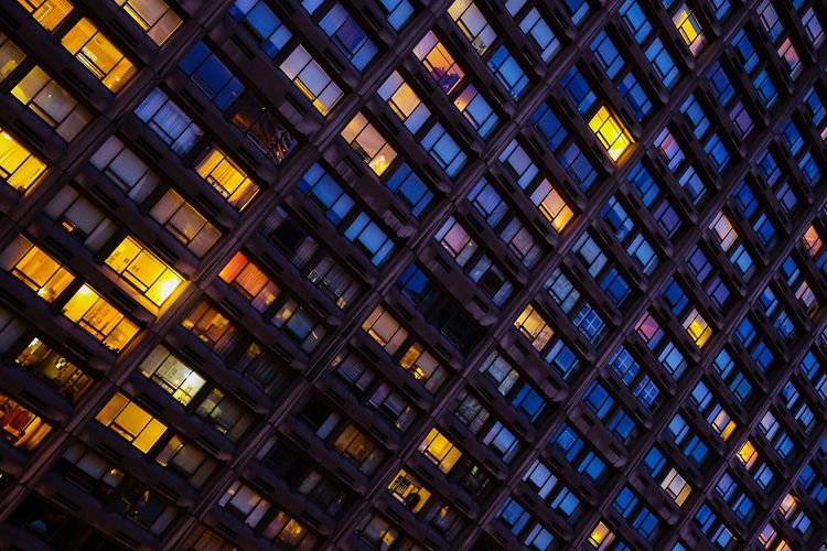 City life Urban Landscape Urban Geometry City Life Cityscape Citylights Architecture Built Structure Illuminated Pattern Full Frame Building Exterior Night Building City Window Modern Glass - Material Skyscraper The Architect - 2018 EyeEm Awards HUAWEI Photo Award: After Dark
