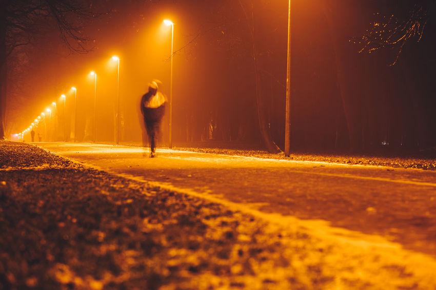 Walking Kaunas City Europe Lietuva Nikon Z7 Z7 Night Street Road Motion Illuminated Transportation One Person Adult Sport Running Street Light Exercising Full Length Nature Blurred Motion Outdoors Walking Activity Dark