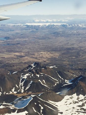Flying High Scenics Mountain Beauty In Nature Mountain Range Sky Airplane Wing High Angle View High Above Soon Landning Iceland Lost In The Landscape