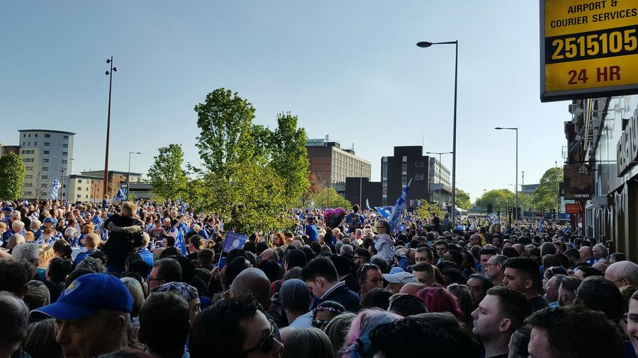 Leicester City champions parade Large Group Of People Crowd City Leicester Leicester City Champions 2016 premier league Blue Football celebration