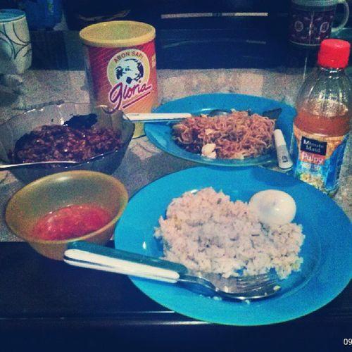 Food For Dinner Pulyorange nasilanggi noodle abon keringtempe likeforlike like followforfollow followme likebackalways
