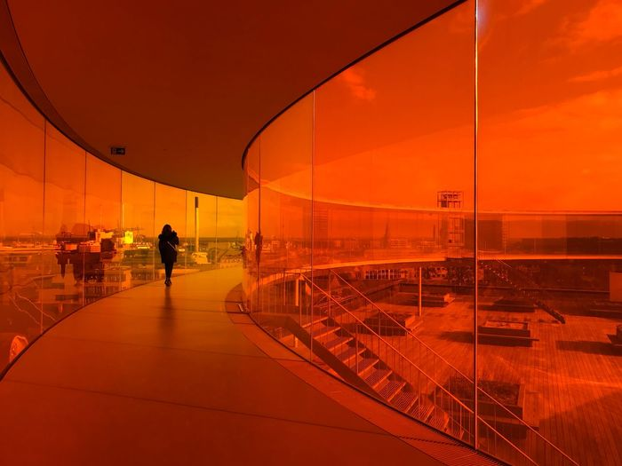 ARos Art Museum Silhouette Red Sunset Orange Color Real People Transportation Lifestyles Leisure Activity Men Sky Built Structure One Person Architecture Day
