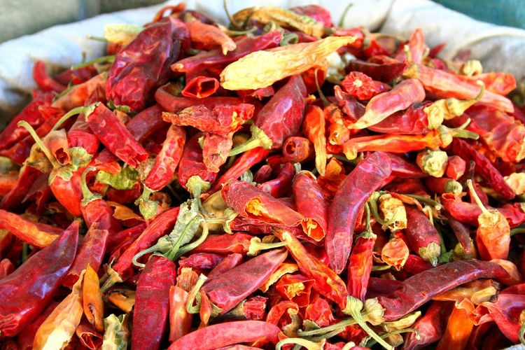Spices Red Peppers Red Pepper Epicerie Piment Full Frame Red Piment Rouge Old Shop Old Commercial