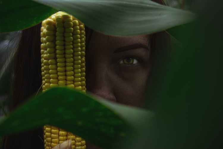 Close-up portrait of woman holding corn