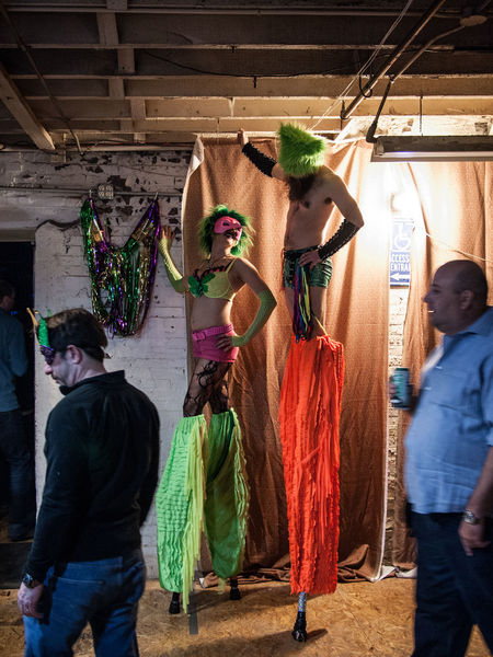 Stilt Walkers at Naughti Gras 10 art exhibit. Arts Culture And Entertainment Event Indoors  Mardi Gras Multi Colored People Performing Arts Event Real People Stilt Walkers Stiltwalker Tall - High Tall People