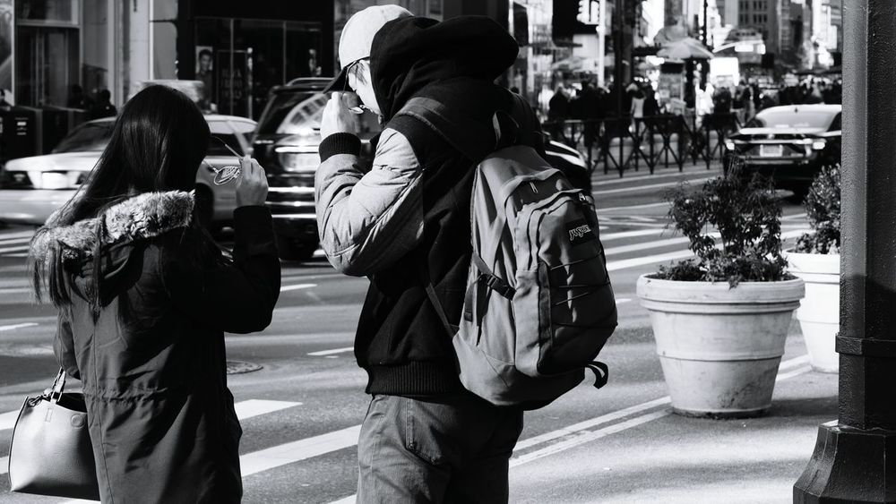 Eyewear. Black And White Photography NYC Street Photography Streetphoto_bw Cars Eyewear Male And Female Jansport Candid Photography Sony A6000 Project365