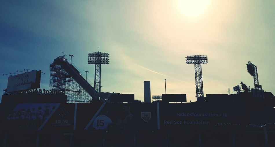 Check This Out Yesterday ❤ at Fenway ParkBig Sky Event a 140 ft Ski & Snowboard Jump. Left of the light tower is a silhouette of the ramp. If you haven't seen it, check it out on Youtube. Quite impressive. Boston, Ma Sunset SilhouettesS6