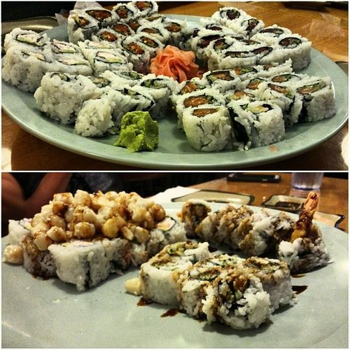 All this was devoured in 5 minutes 😑 while the wait time was almost 1 hour 😣 Yummy Though Shogunsushi Northridge  dinner sushi behungry