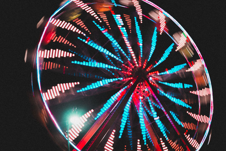 Multi Colored Vibrant Color Ferris Wheel Lighting Equipment No People Electric Light Lit Festival Music Festival People Night Nightphotography Kahbang Music Fest Maine Bangor Slow Shutter Speed Slow Shutter Darkness And Light Darkness Dark Grainy Images Grainy Lookslikefilm